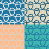 Set of 4 marine rope loop seamless pattern. Royalty Free Stock Photography