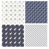 Set of marine seamless patterns Royalty Free Stock Photography