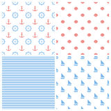 Set of marine seamless vector backgrounds. Symmetrically arranged marine elements. Red and blue colors Stock Image
