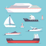 Set of marine ships, boats, yachts and sailing tanker. Marine buoy. Vector, illustration in flat style isolated on blue Royalty Free Stock Image