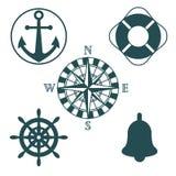 Set of marine silhouettes stock illustration