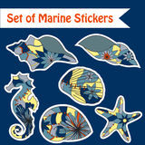 Set of marine stickers Royalty Free Stock Photo