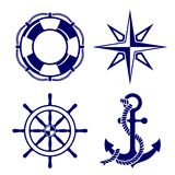 Set of marine symbols  Vector Illustration. This is file of EPS8 format Stock Photos