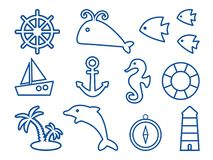 Set on marine theme, outline design. Vector illustration vector illustration