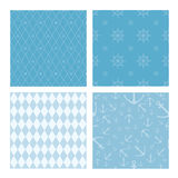 Set of 4 marine themed seamless patterns Stock Photography