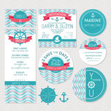 Set of marine wedding cards Stock Photos