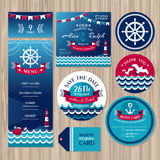 Set of marine wedding cards stock illustration