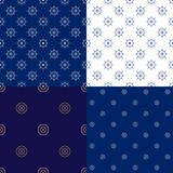 Seamless Marine Pattern with Boat`s Wheel. Set of Maritime Backgrounds , Seamless Marine Pattern with Ship`s Wheel , Travel and Tourism Concept , Thin Linear Royalty Free Stock Photo