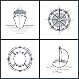 Set of maritime icons, vector illustration Royalty Free Stock Photo