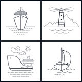Set of maritime icons, vector illustration Royalty Free Stock Photography