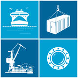 Set of maritime icons, vector illustration Stock Photography