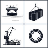 Set of maritime icons, vector illustration Stock Photos