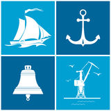 Set of maritime icons, vector illustration Royalty Free Stock Images