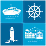 Set of maritime icons, vector illustration Royalty Free Stock Image