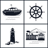 Set of maritime icons, vector illustration Stock Images
