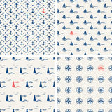 Set of maritime seamless patterns Royalty Free Stock Photos