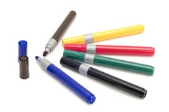 Set of marker. Series object on white - soft-tip pen Stock Photo