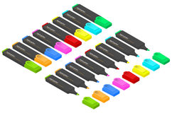 A set of markers of different colors in an isometric view. Royalty Free Stock Images