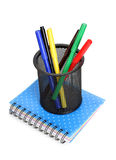 Set of markers and notebook Royalty Free Stock Photography