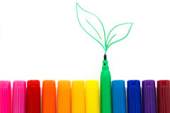 Set of markers rainbow colors Stock Image