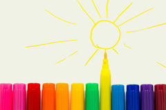 Set of markers rainbow colors Royalty Free Stock Image