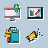 Set marketing information with statistics strategy. Vector illustration Royalty Free Stock Image