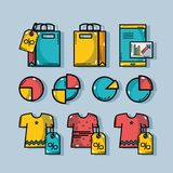 Set marketing information with statistics strategy. Vector illustration Stock Images