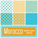 Set 6 Maroko wzorów tło Geometryczny bezszwowy muzułmański Zdjęcia Royalty Free