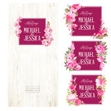 Set of marriage invitations. Big bundle of Marriage invitation cards with custom sign and flower frame over wooden background. Rose mallow garland over wood stock illustration