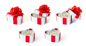 Set of marriage proposal heart shaped gift boxes stock photography