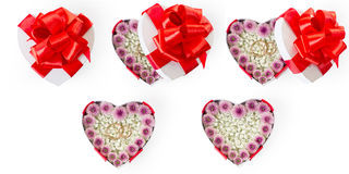 Set of marriage proposal heart shaped gift boxes Stock Photos