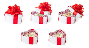 Set of marriage proposal heart shaped gift boxes Royalty Free Stock Images