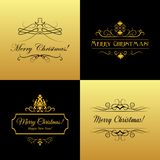 Set of Marry Christmas and Happy New Year cards. Black and gold vector Stock Photos
