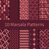Set of marsala seamless patterns Stock Image