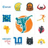 Set of martial arts, 5 star, wolf face, 10 year, hockey stick, equestrian, africa map, running club, pillow icons. Set Of 13 simple editable icons such as Stock Image
