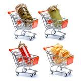 Set marynowani konserwować warzywa w wózek na zakupy Fotografia Stock