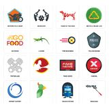 Set of mascara, train station, import export, fake news, piston log, tire business, go food, year the dog, motorcycle shop icons. Set Of 16 simple  icons such as Stock Image