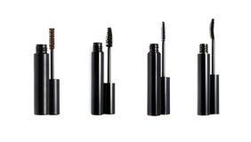 Set of mascara wand and tube. Isolated on white Stock Photos