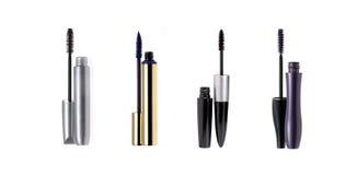 Set of mascara wand and tube. Isolated on white Royalty Free Stock Images