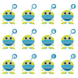 Set of mascot symbol showing social technology and media icons Stock Photography