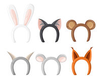 Set mask cat, rabbit, deer antler and ears. Isolated on white  illustration Flat design style  illustration. Set mask cat, rabbit, deer antler and ears Stock Photo