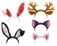 Set mask cat, rabbit, deer antler and ears. Isolated on white vector illustration Royalty Free Stock Image