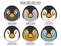 Set mask face beauty animal penguin girl and women. Skin spa procedure, cosmetic clean. Head full face, cartoon style vector illustration