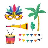 Set mask with palm with party banner and drum with trumpet. Vector illustration vector illustration
