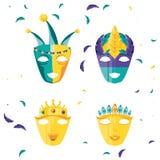 Set maski świętowania karnawałowa ikona royalty ilustracja