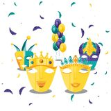 Set of masks carnival celebration icon vector illustration