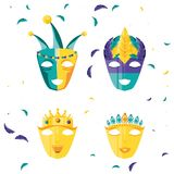 Set of masks carnival celebration icon royalty free illustration