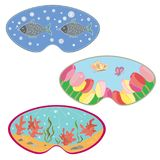 A set of masks for sleeping. Flower field, underwater world and sleepy fish.  Stock Photography
