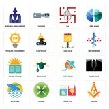 Set of masonic, good bad, betta fish, prop plane, sunday school, yard sale, problem management, jain, personal development icons. Set Of 16 simple  icons such as Stock Image