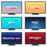 Set of Mass media. Morning, night, daily and evening news. Breaking news banner. Live. Television studio. TV show. Royalty Free Stock Photo
